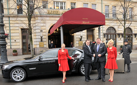 Arrival at the Hotel Adlon Kempinski: Thorsten Buehrmann & Oliver Eller